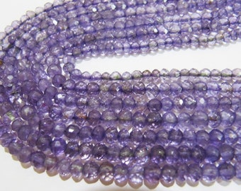 AAA Quality Natural Genuine Amethyst Round Faceted Beads  , 5mm Ball Shape Amethyst Beads , Strand 14 Inches Long , Gemstone Beads