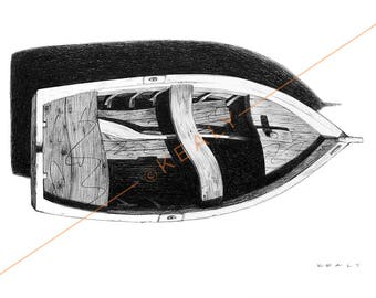 Boat Drawing Print – Black and White