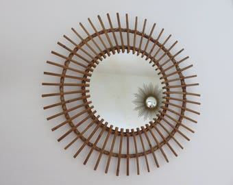 extra large Sun manufacturing rattan mirror French mid century 1950 1960 '50s 60's vintage old french mirror rattan sun