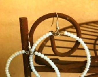 White bead, silver bead earring, hoop earring