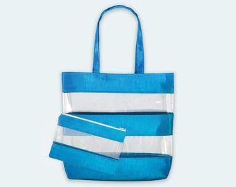 Clear Bag Purse, Transparent Tote Bag, Beach Tote, Matching Bag, Purse Set, Striped Bag, Clear Vinyl Handbag, Fabric Shoulder Bag, Clear Bag