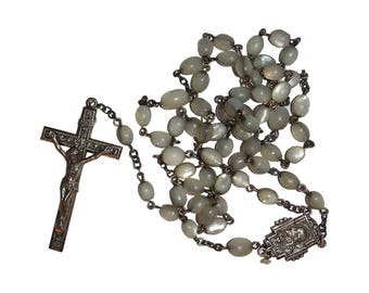Victorian Mother of Pearl Sterling Rosary with Crucifix