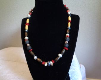 Red Coral and Seashell Beaded Necklace