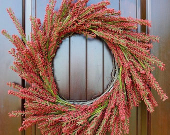 Winter wreath~burgundy flower wreath~red flower wreath~fall wreath~farmhouse wreath~front door wreath~fixer upper wreath~Every day wreath