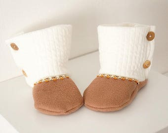 Mixed Tan and ecru baby boots booties