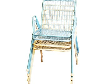 Vintage PATIO CHAIR SET blue white mid century modern stacking porch metal 50s 60s wire back outdoor seating salterini emu rio italy italian