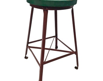 Vintage INDUSTRIAL STOOL steel metal chair seat steampunk factory machine age loft red green seating bar wood top 20s 30s drafting steel