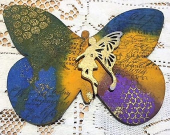 Wooden Hand Crafted Butterfly Plaque