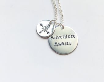 Adventure Awaits Hand Stamped Necklace