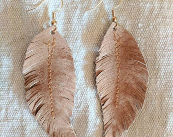 Rusty Brown Upcycled Genuine Suede Feather Earrings