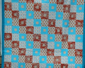 queen size quilt, homemade quilt, blue quilt, orange and blue quilt, modern quilt