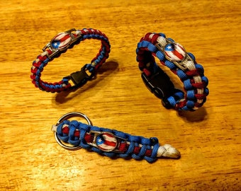 Puerto Rican Flag Paracord Bracelet, Keychain, or Set
