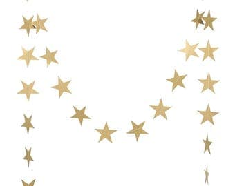 Gold Metallic Star Garland | Wedding Decor | Gold Star Garland | Gold Star Banner | Gold Star Decor | Gold Eid Decor | Gold Ramadan Decor