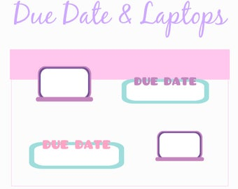 Due Date & Laptop | Planner Stickers, School Stickers