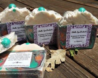 Bergamot & Mandarin Handmade Soap | 5.5 Ounce Bar | Artisan Soap | Cold Process Soap | Piped Top | Luxury Soap
