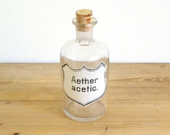 Vintage antique apothecary pharmacy bottle original ether.Apothecary jar decor.Clear glass cork stopper.Painted label.Aether acetic.Pharma