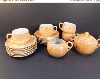 20% OFF SALE - Vintage Chikaramachi Lustreware Teacups and Saucers, Lustreware Creamer and Sugar Bowl, Peach Lustreware