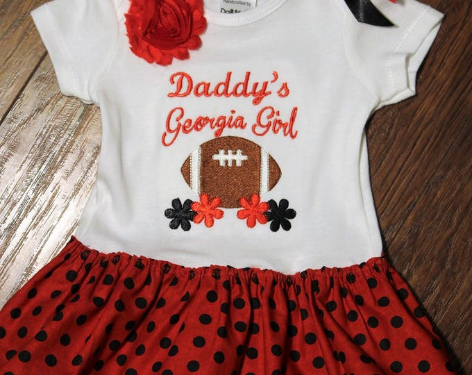 Georgia bodysuit with attached skirt, Red and Black Georgia Girl outfit,Daddy's Georgia Girl,Bull dogs bodysuit,Bull Dawgs, Baby girl Shirt