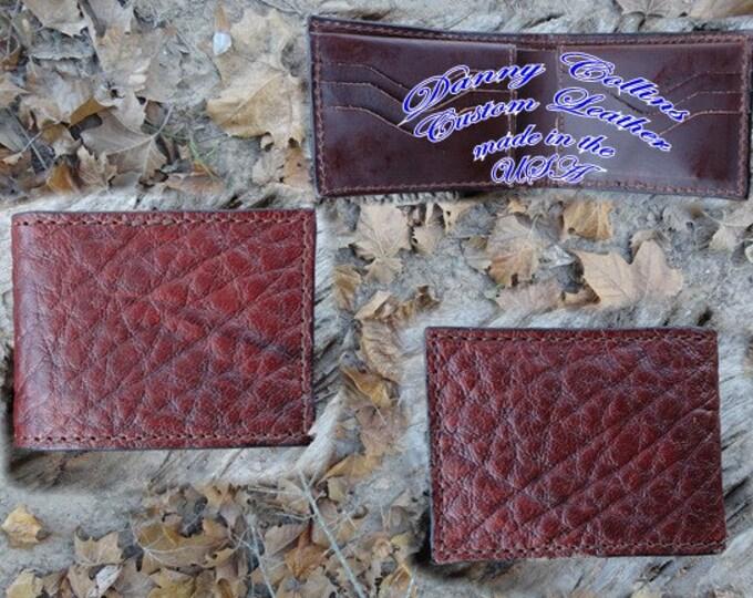 Shrunken Bull Hide leather Bi fold wallet, Bifold Wallet, Mens Wallet
