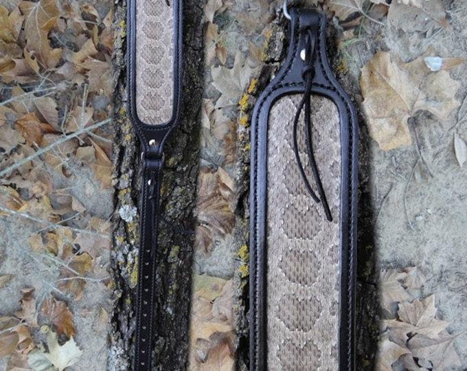 Black on Black Rifle Sling With Rattlesnake Inlay, Rifle Sling, Leather Rifle Sling