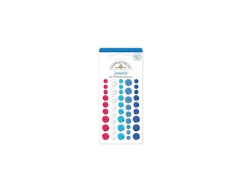 Doodlebug | Yankee Doodle Collection | Adhesive Jewels Round | Red, White & Blue