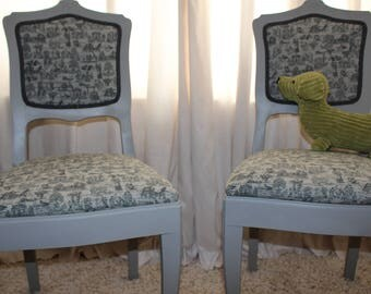 Pair of French Country Style Chairs . Hand Painted and Newly Reupholstered.