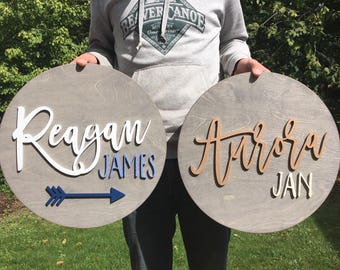 """18"""" Round baby name sign 