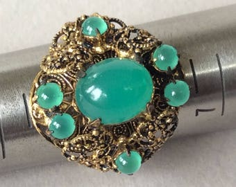 Czechoslovakia Green Glass Cabochon Filigree Adjustable Ring