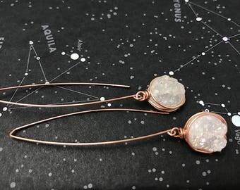 White druzy earrings | bridesmaid earrings | druzy drop earrings | dressy earrings | dangle earrings | rose gold earrings