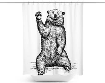 Bear Shower Curtain Bear Bath Curtain Bear Bathroom D Cor Bear Bath D Cor