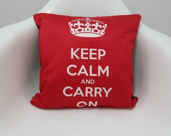 Keep Calm and Carry On Printed Pillow Cover Red 17x17 Cushion Cases
