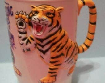 1988 Ringling Bros Circus Vintage Tiger Collectible Hard Plastic Cup/Mug  3D Tiger Tails Form Handle