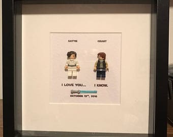 Star Wars Wedding Gift Frame I Love you I Know Princess Leia and Han Solo  replica Personalised Frame Engagement or Anniversary Gift