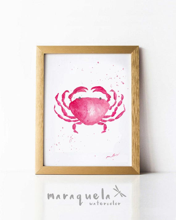 PINK CRAB illustration in Watercolor. Marine beach decor ideas, art prints bath, marine plants, life marine, beach decoration art wall ideas
