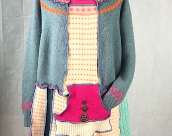Blue Pink, Orange and Cream, Wonky Upcycled, Recycled Sweater Tunic/Dress