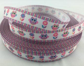 """Pastel Owl Floral Grosgrain Ribbons, bird ribbons, hoot ribbons, flower ribbons, animal ribbons, Available in 7/8"""""""