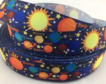 "Astronomy ribbons, Planet ribbon, space ribbon,Grosgrain Ribbon. Available in 7/8""  grosgrain ribbons"