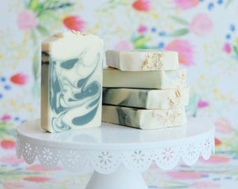 Pure Peppermint Goats Milk and Oatmeal  Soap