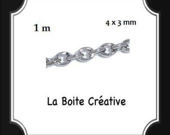 1 m chain A mesh chain in METAL SILVERED 4 x 3 mm