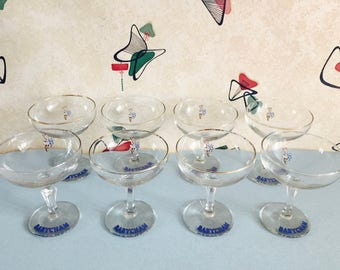 Very Little or No Gold Rim - Pair of Babycham Glasses - 1950s - Vintage Barware - White & Brown Fawn - Kitsch