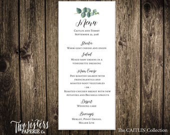 EUCALYPTUS MENU - CAITLIN Collection - Wedding Menu - Rehearsal Dinner Menu - Eucalyptus Wedding Menu - Simple Wedding Menu