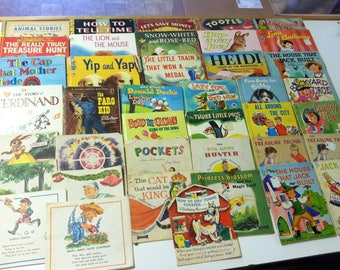 Vintage Estate Children's Book Mixed Lot Hardback Paperback 1960's 1970's Classic Reading Whitman Saafield Rand McNally Treasure Books &More