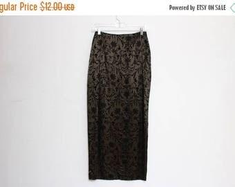 25% OFF VTG 90s Green Iridescent Burnact Velvet High Waist Slit Maxi Skirt S