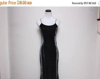 25% OFF VTG 90s Metallic Iridescent Black Silver Cut Out Maxi Dress S