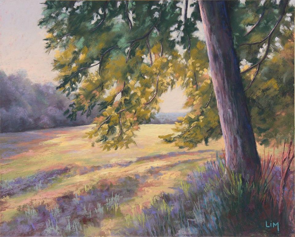 Très Peinture au pastel sec Marais Marécage Paysage de Brière CE01