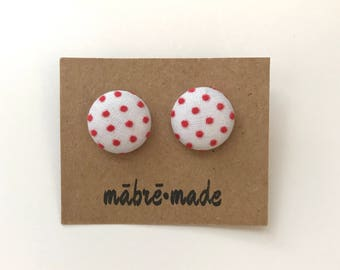 Fabric-Covered Button Earrings