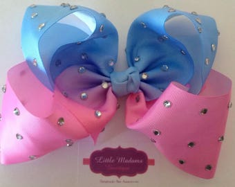 8inch Pink and blue ombre rhinestone bow