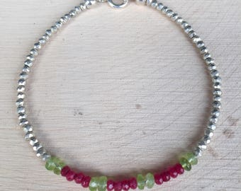Dainty Ruby, Peridot, and Silver Pyrite Boho Chic Gemstone Stacking Bracelet