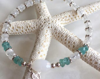 Rainbow Moonstone, Apatite and Sterling Silver Beaded Stacking Bracelet