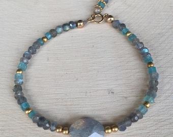 Labradorite, Apatite, and 14K Gold Beaded Stacking Bracelet